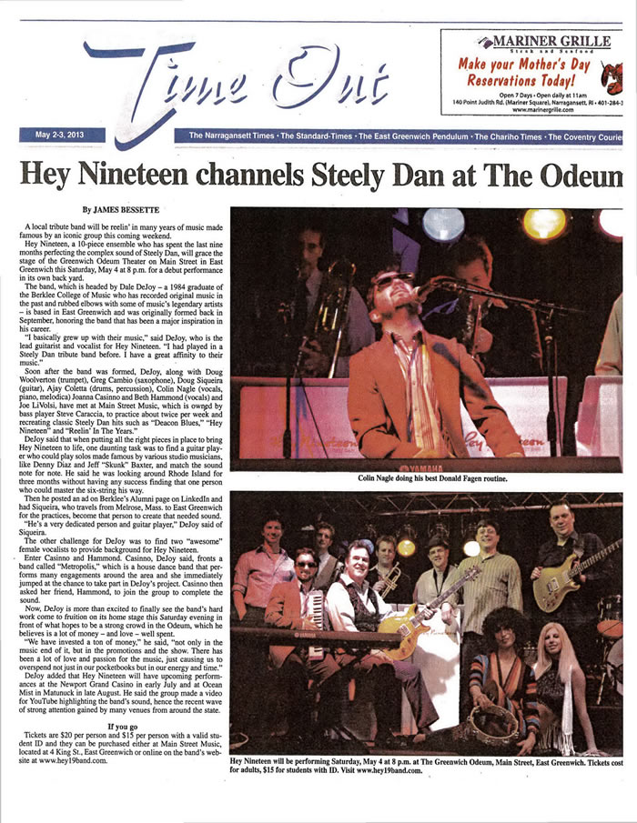 Hey Press To Peel Away Patch Promises Professional Eye: Press Releases Of Hey Nineteen A Tribute To Steely Dan